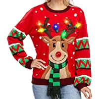 Womens LED Light Up Reindeer Ugly Christmas Sweater Built-in Light Bulbs