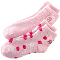 Earth Therapeutics Aloe Socks, 2 Pair Per Package (Pink and Pink Polka Dots)