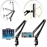 Phone Tablet Stand Bed Mount Holder, 360 Degree Sturdy Metal Arm Lock Nut Padded Adjustable Mounting Clamp Compatible iPhone
