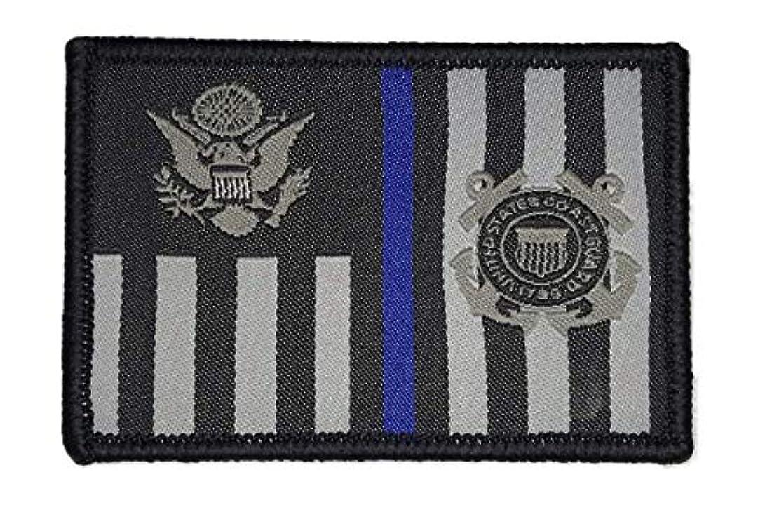 毒液キャプテン軽蔑するUSCG Subdued Thin Blue Line Ensign-モラールパッチ(ブラック)