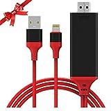 Limxems 最新 ios11.1适用 Lightning to HDMI 转换连接线无需设置 プラグアンドプレイタイムラグ 不2 m 1080P 高画质 HDTV iPhone iPad iPod 画面的电视传输 ミラリング HDMI & USB & Lightning 数据线 ( 红色 )