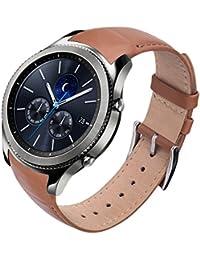 """V-Moro SAMSUNG Gear S3 Frontier/Classic Watch 本格革バンド 22mm 腕時計ストラップ 買えバンド ビジネスシンでも 男女兼用 交換ベルト 全4色7.1""""-9.4"""" (レザーブラウン)"""