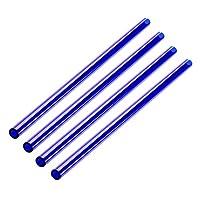 Perfk ガラス ストロー 4個 エコフレンドリー 耐熱性 耐久性 無毒性 多色選べる - 濃紺