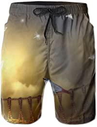 メンズ ビーチショーツ ショートパンツ ファンタジー橋鳥プリント 水着 スイムショーツ サーフトランクス インナーメッシュ付き 通気 速乾
