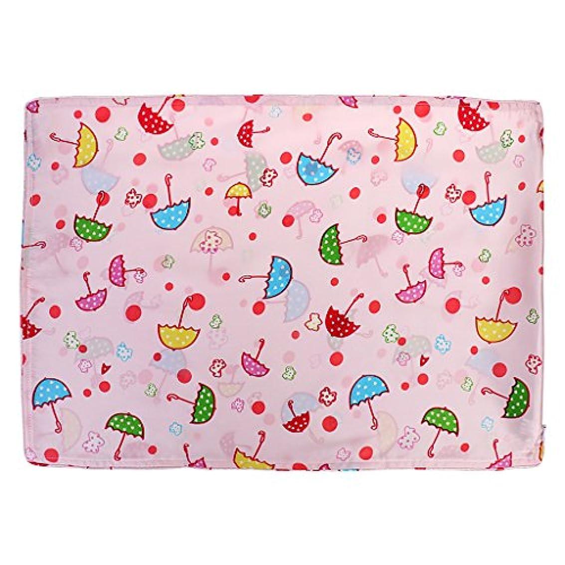 バイソン祝福する弱点かわいいベビーキッズ100%シルクサテン両面枕カバー30 * 55センチメートル傘ピンク