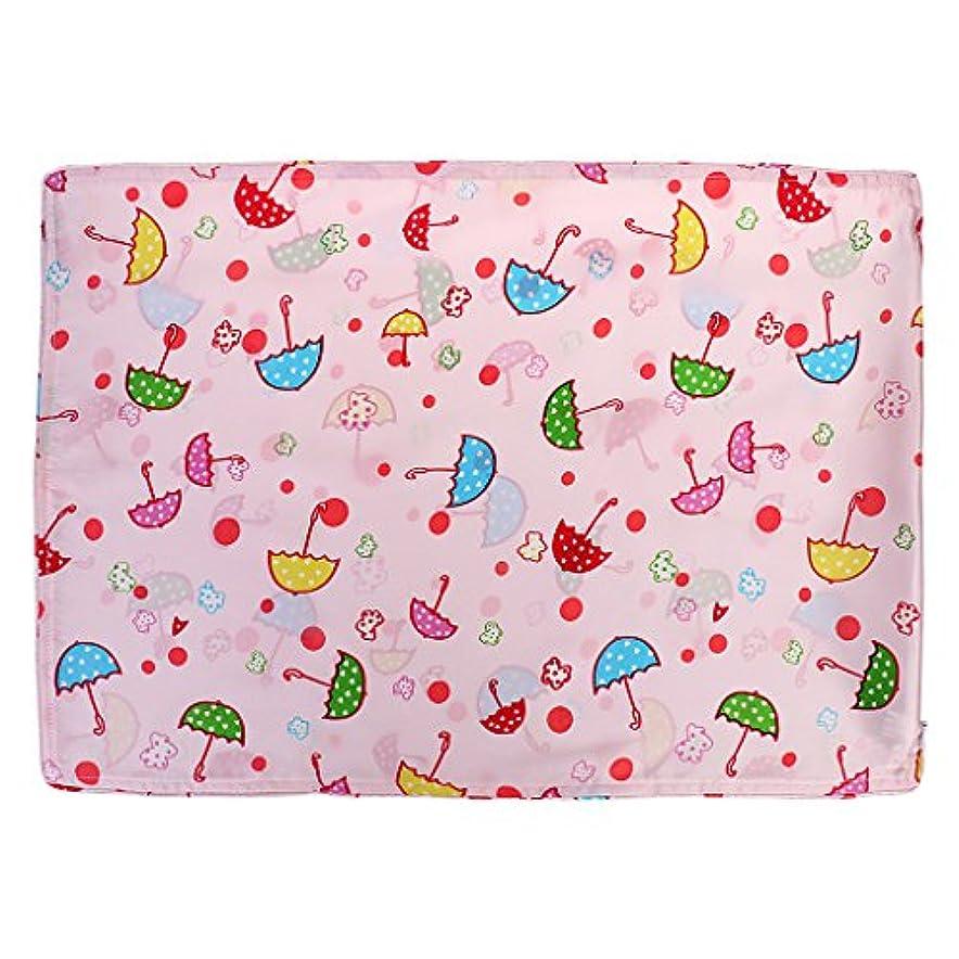 ホールド故意の昆虫かわいいベビーキッズ100%シルクサテン両面枕カバー30 * 50センチメートル傘ピンク