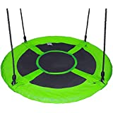 "Gaorui 100cm 40"" Tree Swing Spinner Kids Swing Seat Saucer Nest Swing Round Ring Large Tire Swing – 200 KG Weight Capacity, Fully Assembled, Easy to Install Green"