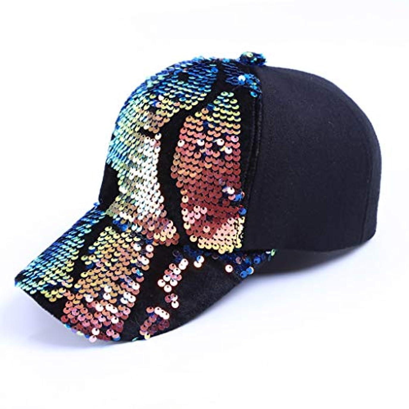 教育するメンテナンスしかし帽子女性の春と秋の新しい野球帽ファッショントレンドスパンコールウールカジュアル韓国キャップ (Color : B)