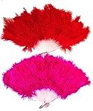 ジュリアナ 扇子 羽扇子 濃い ピンク × レッド 2個セット 濃桃 赤 ディスコ バブル ボディコン 結婚式 パーティー チャイナドレス