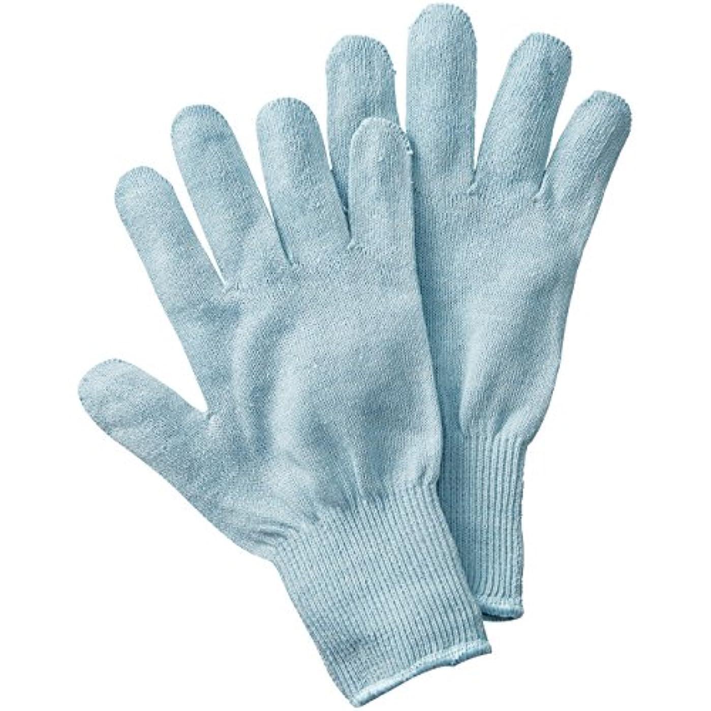 アサー式滑り台セルヴァン シルク混おやすみ手袋 サックス