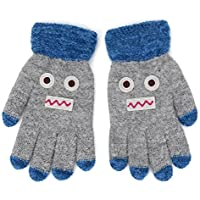 Flammi Kids Winter Knit Gloves Cartoon Robot Full Finger Gloves
