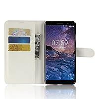 Nokia 7 Plus ケース DISLAND [カード名義人][ライチ テクスチャ]フリップ財布カード スロット PU レザー カバー皮ケースをスタンドします。,ホワイト