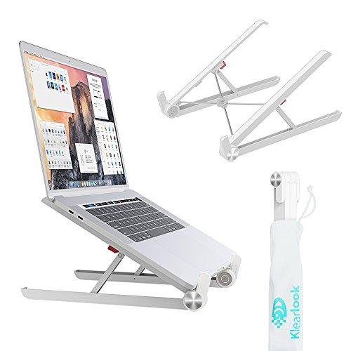 KlearLook 11~17.3インチノートパソコン/タブレット/ipad/macbookに対応するスタンド 折り畳み式 軽量・頑丈なアルミ製 PCスタンド 放熱 コンパクト 収納・持ち運び便利 段階調整可 肩こりと腰痛対策 収納布袋付き (ホワイト)