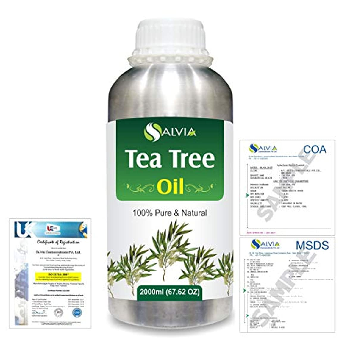 知覚できる後退するめまいTea Tree (Melaleuca alternifolia) 100% Natural Pure Essential Oil 2000ml/67 fl.oz.