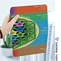 IPadケース スマートカバー アイパッドケース タブレットカバー アイパッド第四世代 第三世代 精神的なチャクラと宇宙のアイコンと生命図の木の花のヨガのパターン