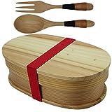 【YFWOOD】わっぱ 弁当箱 1段 寒い冬に一番相応しい杉木製お弁当箱 かわいい小判弁当箱 フォーク スプーン (単品1個+スプーン1個+フォーク1個)