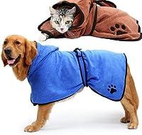 GUQQRZCT 犬のバスローブ温かい犬の服吸収性のペット乾燥タオル刺しゅう爪猫フードペットバスタオル GUQQRZCT (Color : Blue)