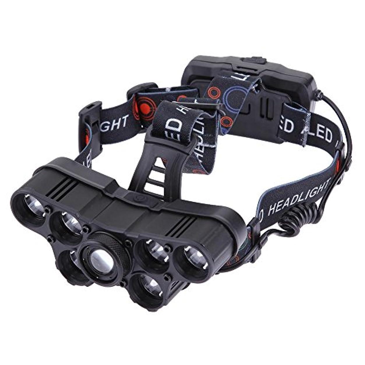 お手入れコマース能力Runcircle ヘッドライト ヘッドランプ USB充電 電池式 ズーム 高輝度LED 7LED 警告ライト付き 調整可能 屋外 キャンプ 登山 釣り アウトドア 防水 ヘルメットライト (1/2×18650電池別売り)