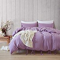 ソリッドカラーウォッシュレースキルトカバー3個セット、純粋な天然コットン布団カバー、家の装飾のためのシンプルな枕カバー-purple-Twin