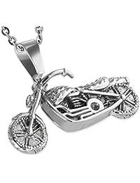 Stainless Steel Silver-Tone Motorcycle Bike Biker Pendant Necklace