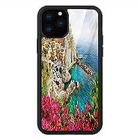iPhone 11 Pro Max 用 強化ガラスケース クリア 薄型 耐衝撃 黒 カバーケース イタリア モナローラアンティーク村の海岸風景パノラマ夏のビーチ風景 マルチカラー iPhone 11 Pro 2019用 iPhone11 Proケース用