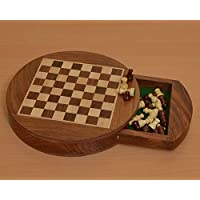 Chessbazaar Traveling Folding Round Magnetic Chess Set 9 Inch Diameter