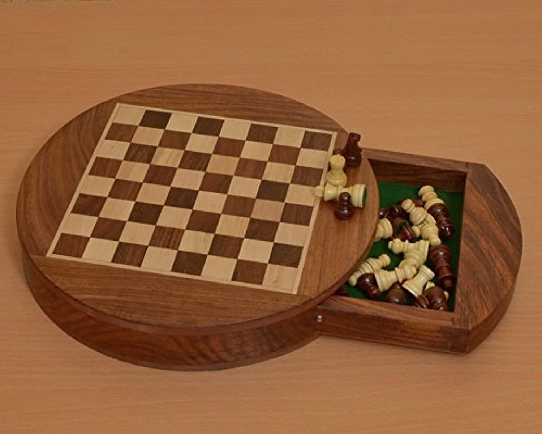 Chessbazaar Traveling Folding Round Magnetic Chess Set 9 Inch Diameter