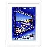 Travel Sncf Train Cote D'azur Harbour Sea Framed Wall Art Print