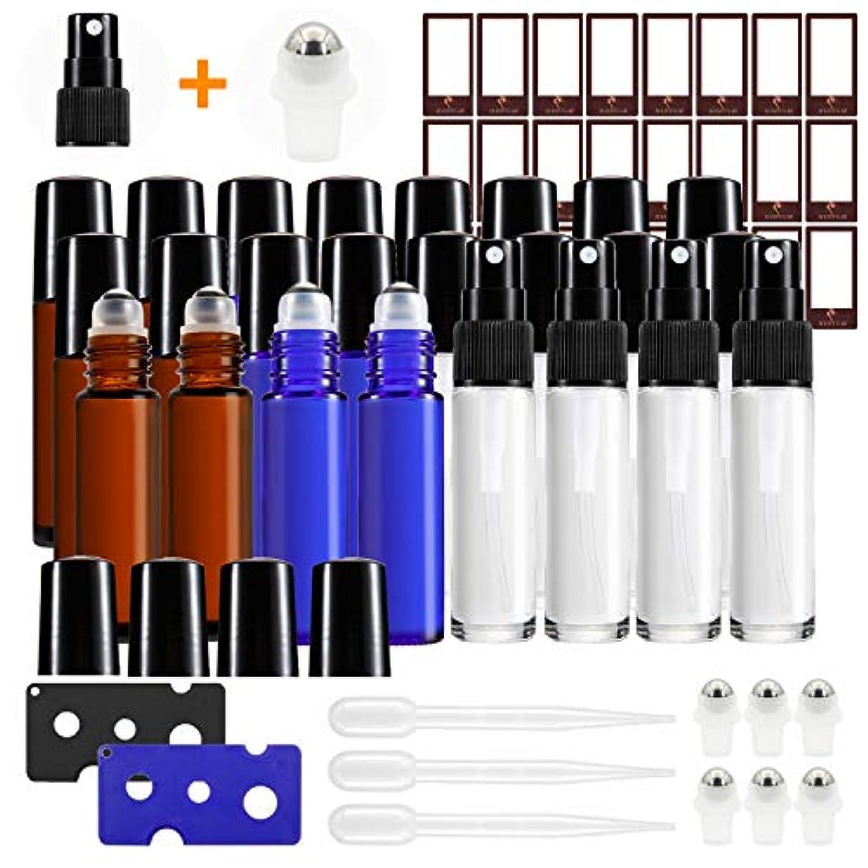 流行しているドリル静かにMASSUGAR ガラスローラーボトル、ステンレス製 ローラーボールとガラス スプレーボトルとエッセンシャルオイル 用 24パック0ミリリットル ローラーボトル 1 1