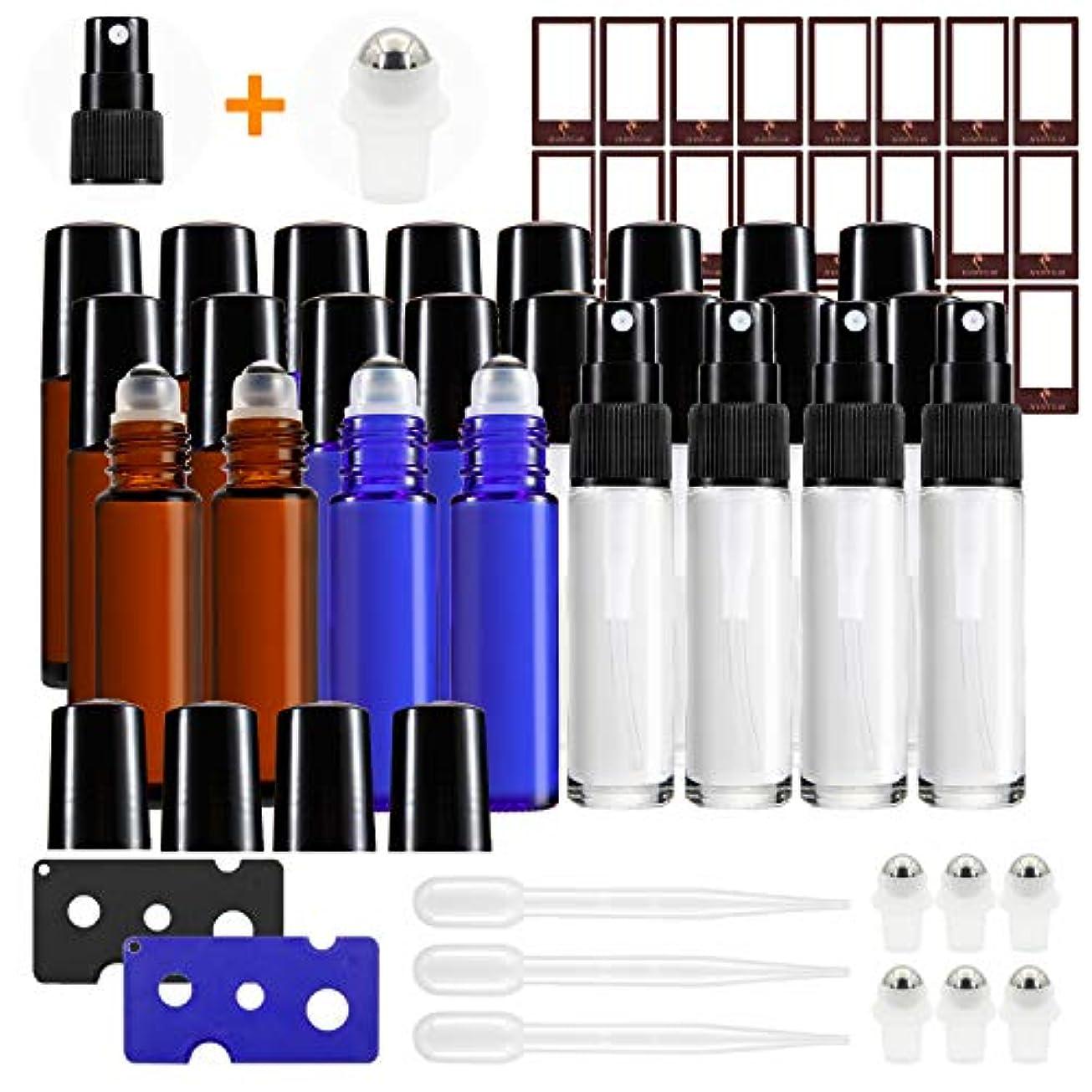 マイクロクランシーシミュレートするMASSUGAR ガラスローラーボトル、ステンレス製 ローラーボールとガラス スプレーボトルとエッセンシャルオイル 用 24パック0ミリリットル ローラーボトル 1 1