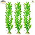 3 Beautiful Plastic Aquarium Plant Set by SunGrow: Vibrant bright Green: Life-like & Attractive for your tank: Non- toxic & Safe for all Fish & pets : Easy to clean : Zero maintenance : No CO2 needed