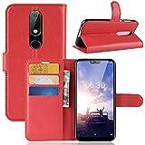 Nokia 6.1 Plus ホルスター シェル フリップ, Moonmini カバー Suit プレミアム 垂直 レザー ポーチ スリーブ 携帯 シェル シェル 〜と カード スロット ホルスター の Nokia 6.1 Plus (Red)