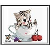 ARTomo【アトモ】パズル油絵『フレーム付き』数字 油絵 DIY パズル塗り絵(ぬりえ) 本格的な油絵が誰でも簡単に楽しく描ける(猫シリーズ)30x30cm (チェリーねこ)