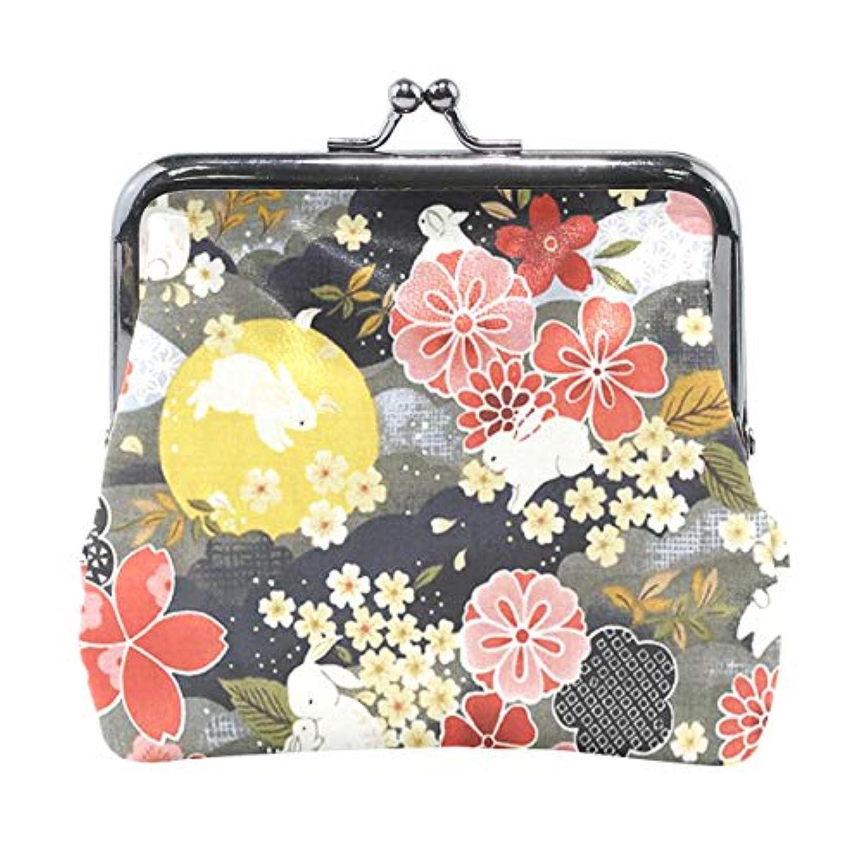 がま口 小銭入れ 財布 兎 桜の花 和風 秋 コインケース レザー製 丸形 軽量 人気 おしゃれ プレゼント ギフト 雑貨
