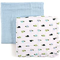 Luvable Friends 2 Piece Muslin Swaddle Blankets, Turtles by Luvable Friends