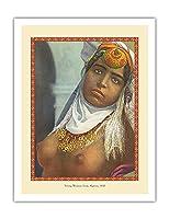 アルジェリアの若い女性 - フランスのはがきから によって作成された レヴィ&ヌルダン c.1910 - アートポスター - 51cm x 66cm