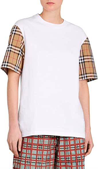 BURBERRY (バーバリー) レディース トップス Tシャツ Serra Vintage Check Sleeve Tee White サイズL [並行輸入品]