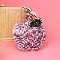 Dalino ファッション パーソナリティ ラインストーン アップルペンダント フランネル キーリング 財布 ハンドバッグ カーチャーム キーチェーン ギフト (ピンク)