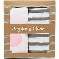 Hayden & Olivia Muslin Swaddle Blanket – 100 %オーガニックコットンピンクとグレー新生児2 - Pack Set for Girls – Large、ソフト、軽量クラシックSleep Baby Swaddling Wrapブランケット幼児&の3 – 6ヶ月