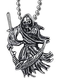 MENDINO Death Grim Reaper Skull with a scytheポインティングat somethingステンレススチールペンダント(シルバー) with 22インチチェーン