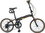 ジェフリーズ 折りたたみ自転車 20インチ AMADEUS Hunter Fox 軽量アルミフレーム 約12.0kg シマノ6段変速 LEDライト/ワイヤーロック/スタンド/Vブレーキ 標準装備 JP-8609 セミマットブラック