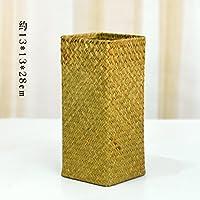 YOLA シーグラス 手織り バスケット 花 ドライフラワーフラワーアレンジメント 収納ボックス (シーグラス 長方形 クリーム, M 13*13*28)