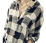 (カエナリエ)Kaenarie ロング ブロック チェック シャツ レディース オーバーサイズ ビッグシルエット 綿 黒 白 ドルマン (M)