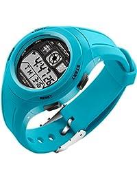 SANDA 子供 学生 PU バンド 多機能 電子時計 防水 LED スポーツ デジタル 腕時計 (ライトブルー)