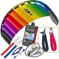 HQ Symphony Beach III 2.2 Kite Rainbowバンドル( 3アイテム) +ピーター?リン?Heavy Dutyパッド入りKiteコントロールストラップハンドルペア+ WindBone Kiteboardingライフスタイルステッカー