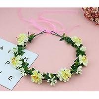 HuaQingPiJu-JP 旅行フォトプロップシーサイドバケーションフラワーガーランド人工花Wreath_Milky
