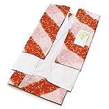 二部式襦袢 日本製 洗える 友禅 二部式襦袢 セパレート 半襦袢 裾よけ (朱赤~ピンクのぼかしに小梅柄 単衣袖 M・Lサイズ) 掛衿 えり抜き付 (Lサイズ)
