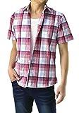 (フラグオンクルー) FLAG ON CREW 半袖シャツ メンズ チェックシャツ カジュアルシャツ チェック柄 / A6H / L 2・ピンク系