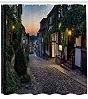 (180cm W By 180cm L, Multi 25) - Ambesonne Wanderlust Decor Collection, Nighttime On The Cobbles At Mermaid Street In East Sussex Cottages Houses Picture, Polyester Fabric Bathroom Shower Curtain Set with Hooks, Green White