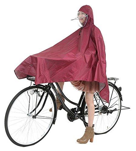 超 軽量 185g 自転車用 レインポンチョ 防水 無臭 男女兼用 フリーサイズ HIIRAGI [ヒイラギ] (ワインレッド)